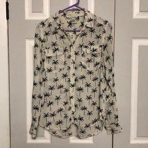 AEO palm tree button down blouse